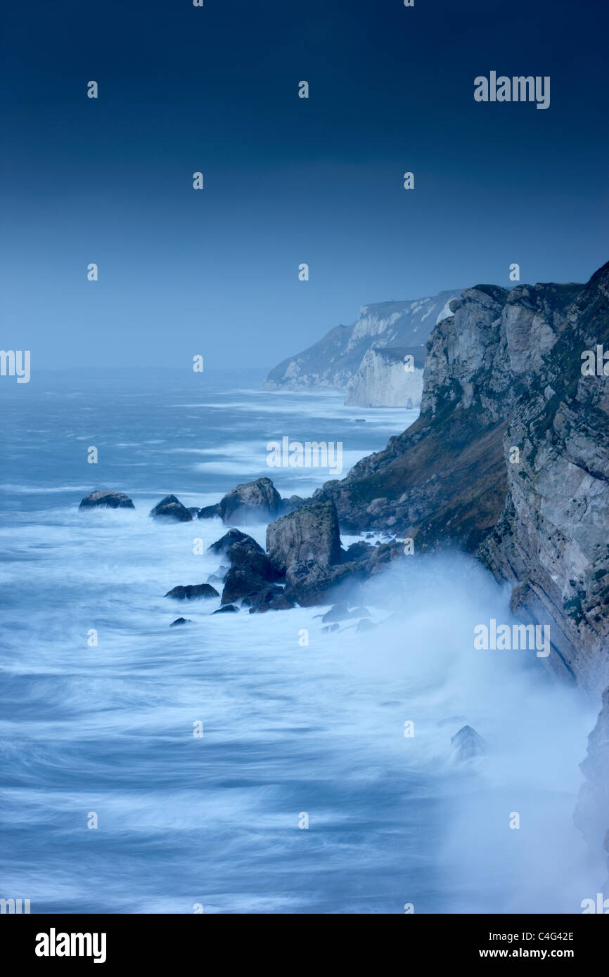 stormy seas at Lulworth Cove, Jurassic Coast, Dorset, England - Stock Image