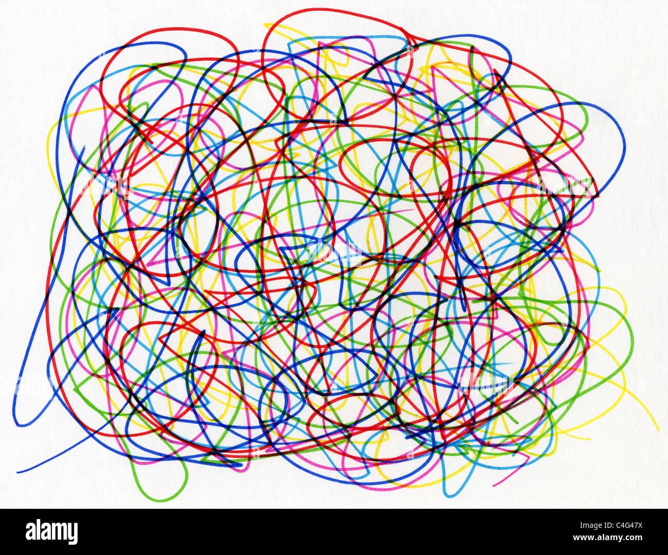 Colourful felt tip pen scribble on white paper. - Stock Image