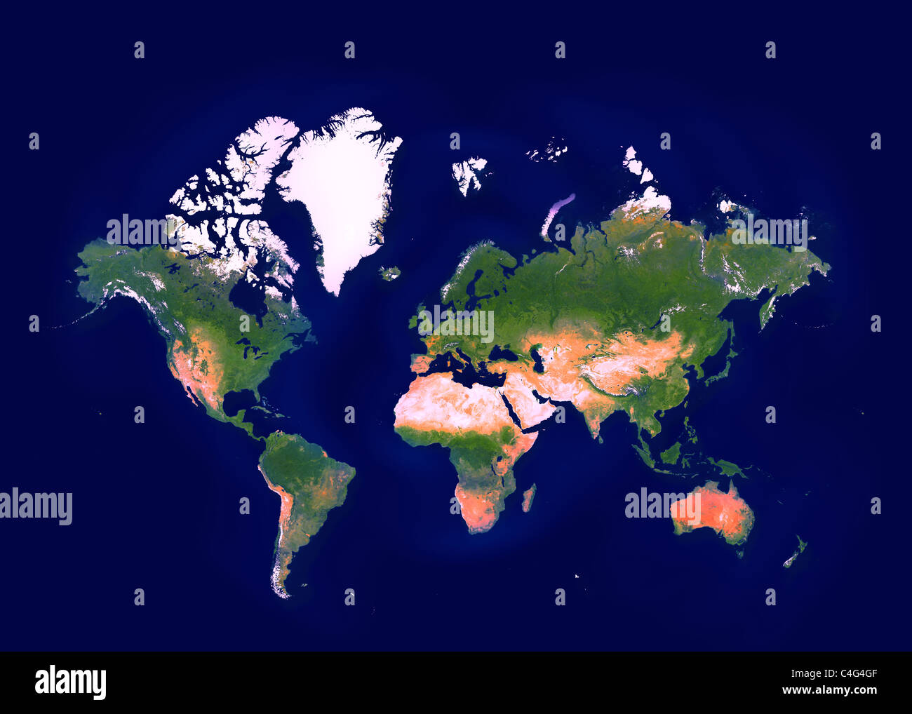 World map showing all continents - Stock Image