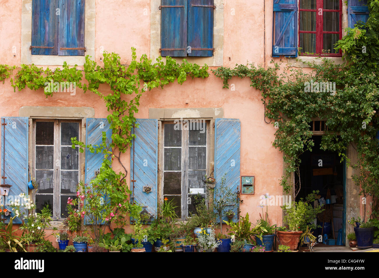 windows in Saint-Félix-Lauragais, Haute-Garonne, Midi-Pyrenees, France - Stock Image
