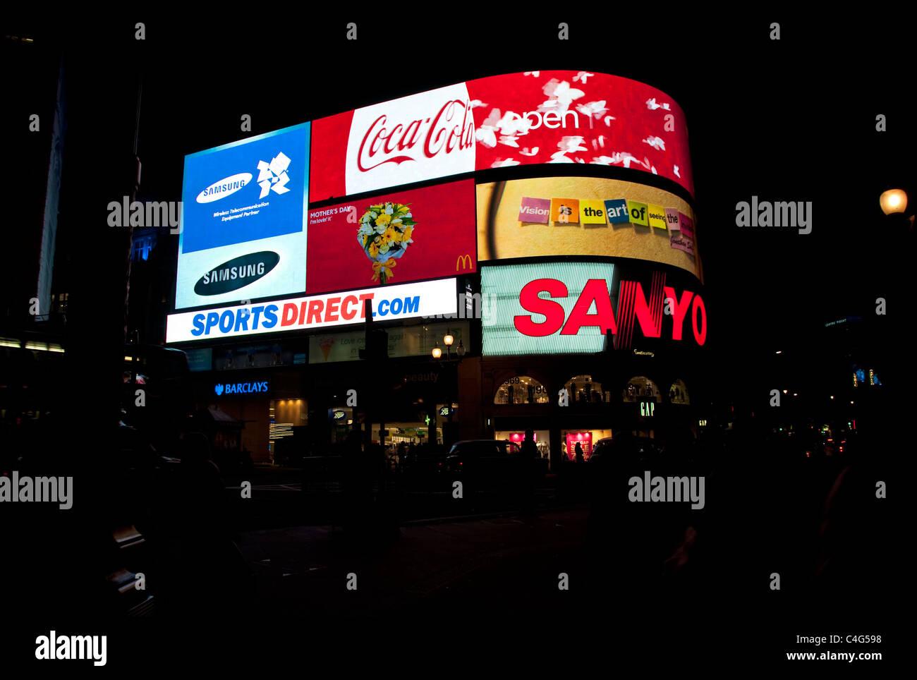 Piccadilly Circus at night, London, UK - Stock Image