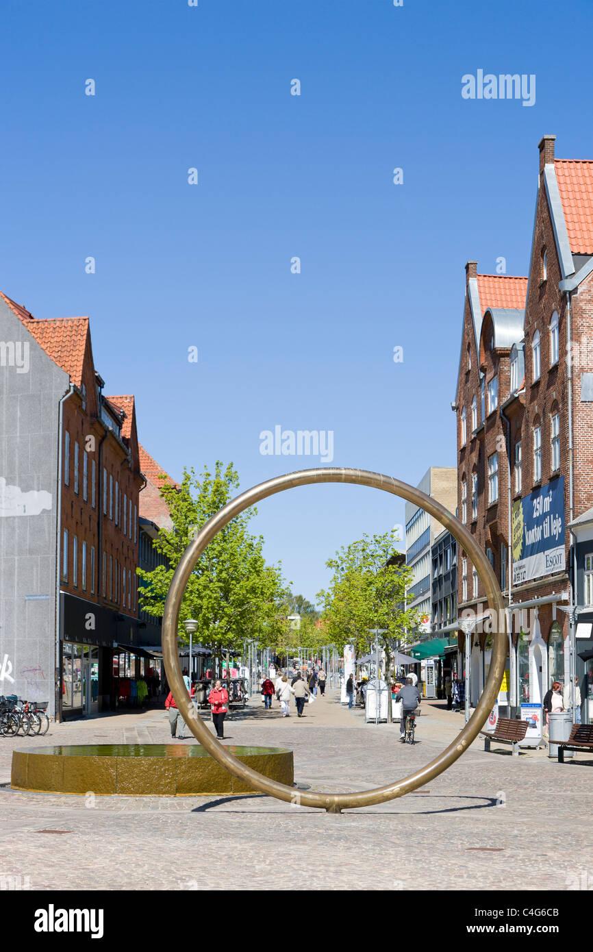 The pedestrianized street in Hjoerring Denmark - Stock Image