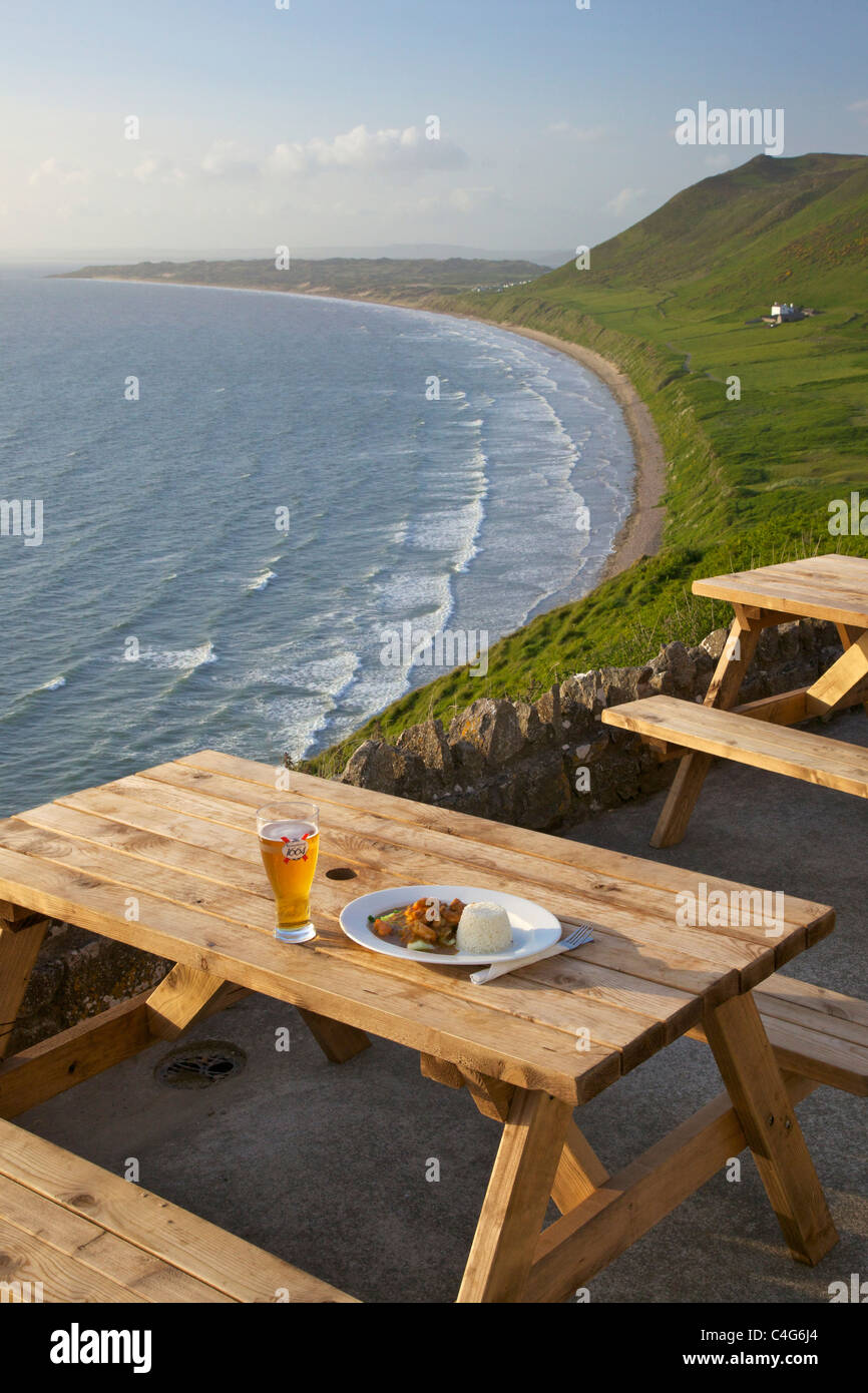 Outdoor meal and drink at Worms Head Hotel Rhossili Gower Peninsula South Wales GB UK British Isles - Stock Image