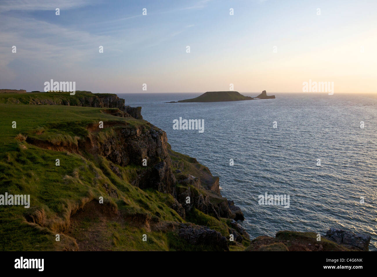 Worms Head Rhossili Gower Peninsula on spring evening, South Wales, Cymru, UK, GB, British Isles - Stock Image