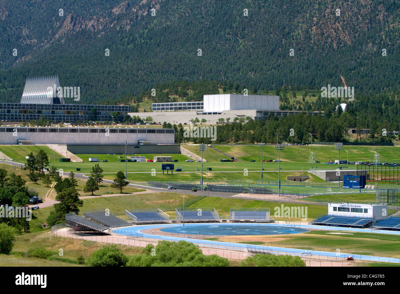 The campus of the United States Air Force Academy in Colorado Springs, Colorado, USA. - Stock Image