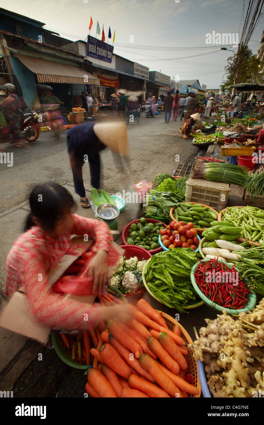 the market at Can Tho, Mekong Delta, Vietnam - Stock Image