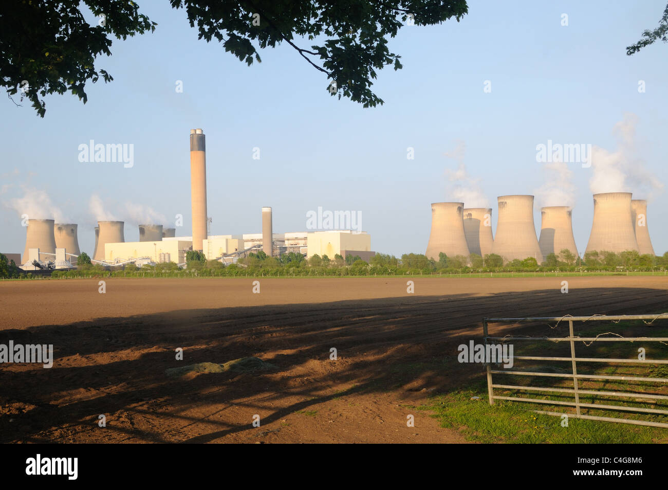 Drax Power Station, from Camblesforth, Yorkshire, England - Stock Image