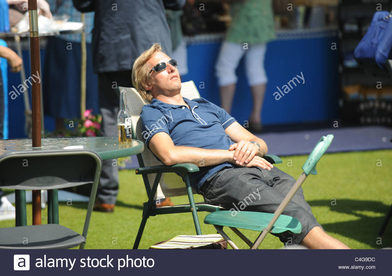 Crowds enjoy hot weather and picnics at The Aegon International Tennis championships held at Devonshire Park Eastbourne Stock Photo