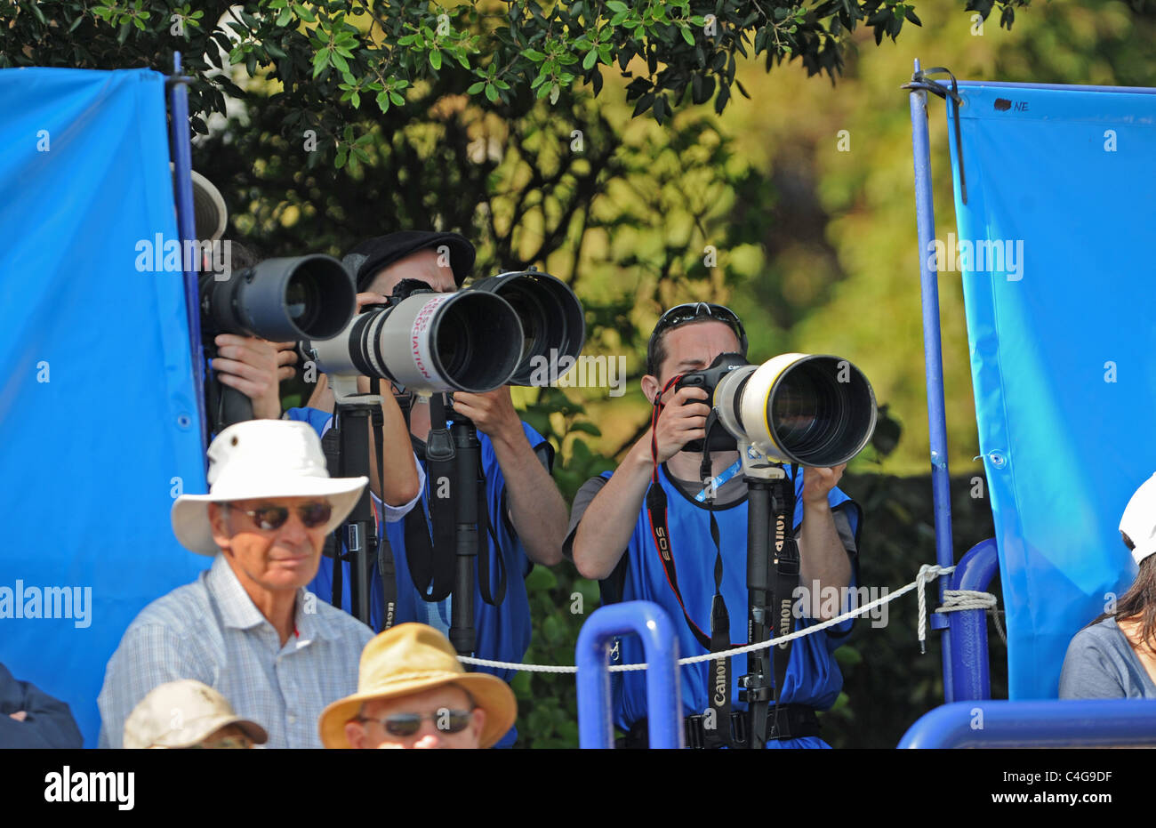 Photographers with long lenses at the Aegon International tennis championships in Eastbourne UK 2011 Stock Photo