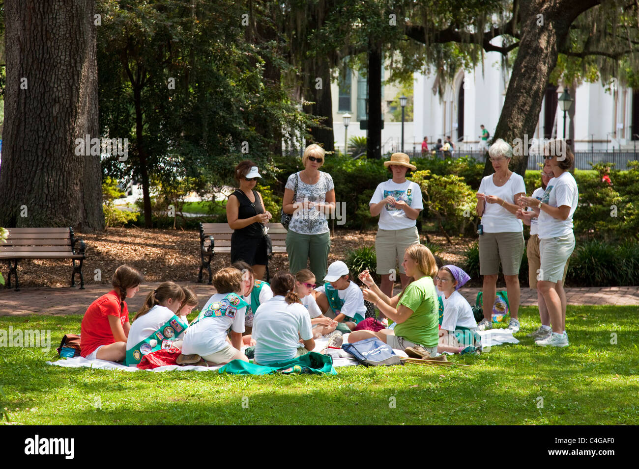 Girl Scout troop in Savannah, Georgia - Stock Image
