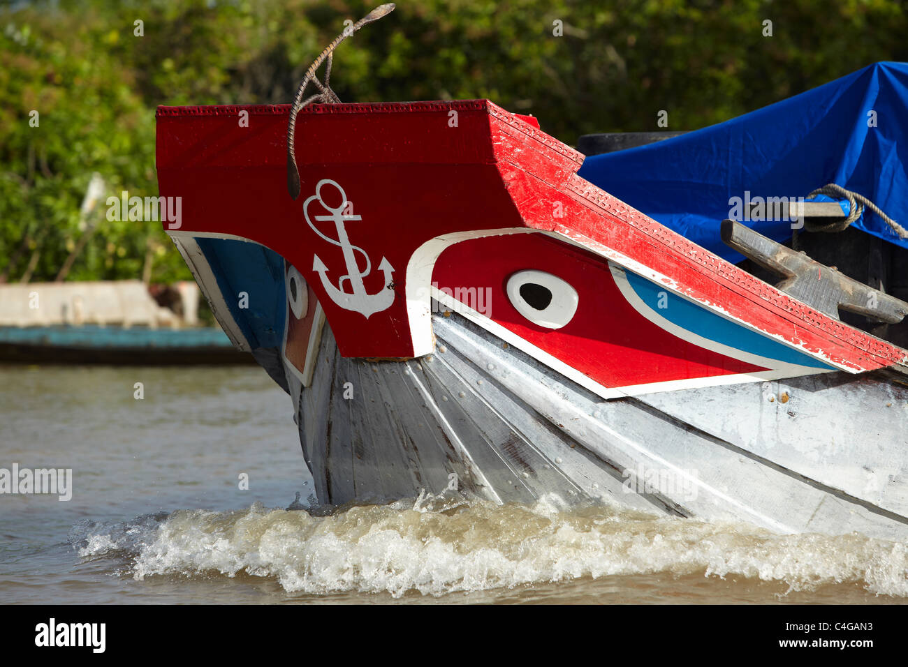 the bow of a boat, Mekong Delta, Vietnam - Stock Image