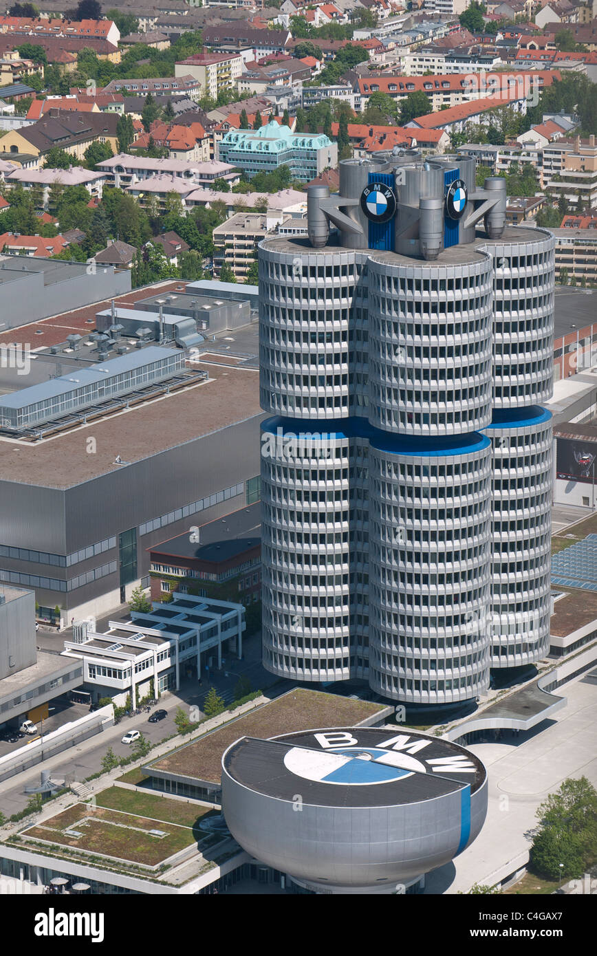 An aerial view of BMW world headquarters known as the BMW-Vierzylinder, or BMW four-cylinder in English in Munich, Stock Photo