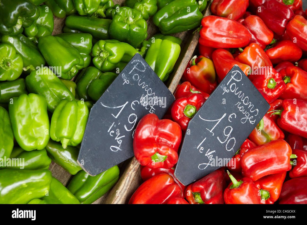 vegetables in the market at Revel, Haute-Garonne, Midi-Pyrenees, France - Stock Image