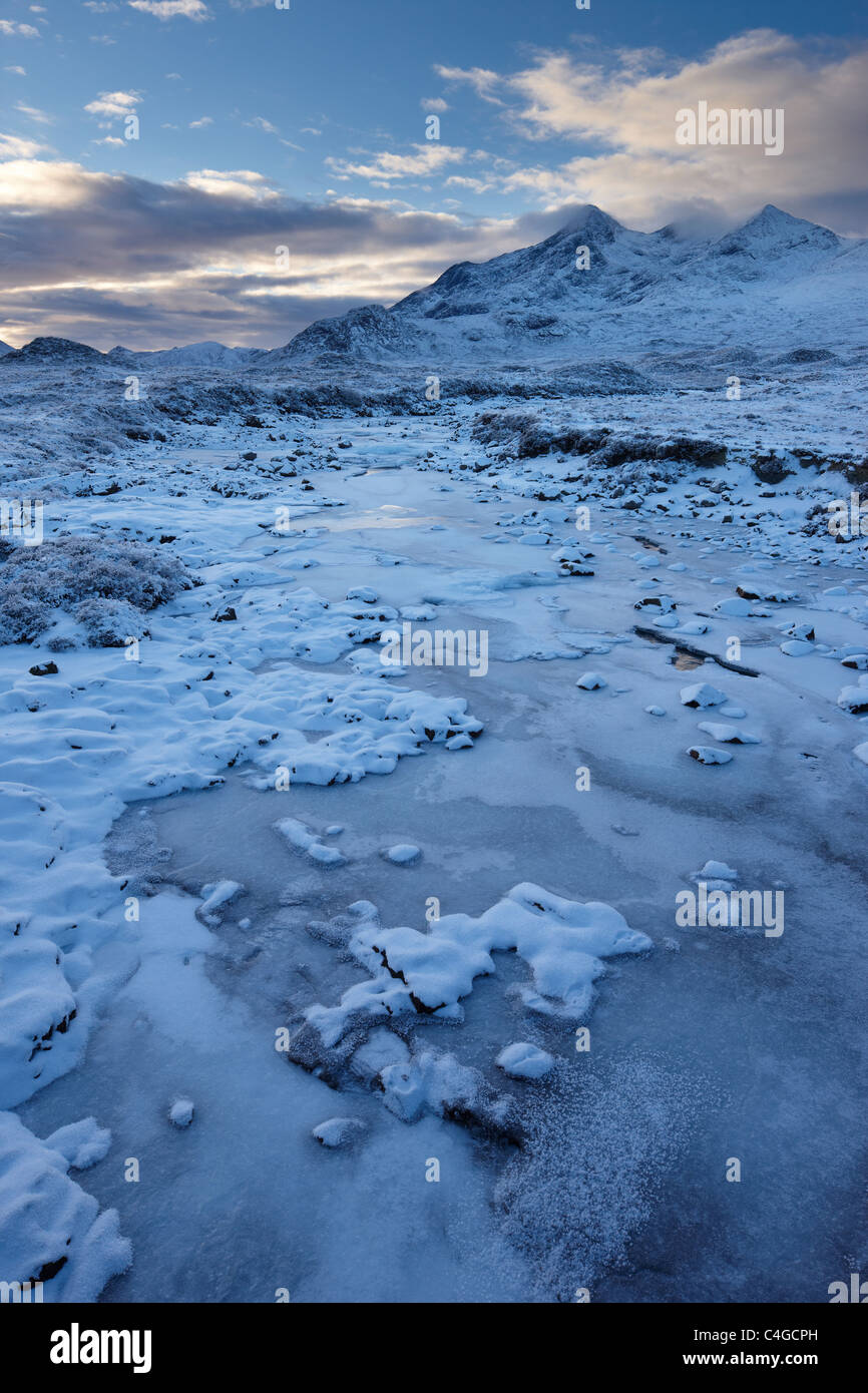 Glen Sligachan & The Cuillin in winter, Isle of Skye, Scotland - Stock Image