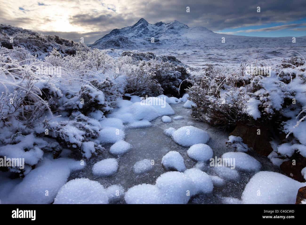 Glen Sligachan & The Cuillin in winter, Isle of Skye, Scotland - Stock Image