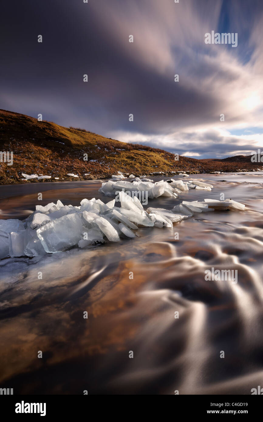 ice on Glen Bracadale, Isle of Skye, Scotland, UK - Stock Image