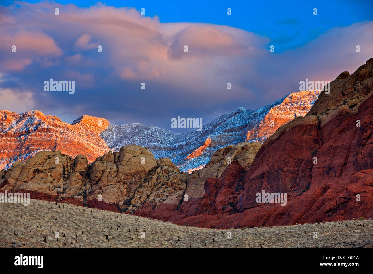 Spring Mountains, Red Rock Canyon National Conservation Area, Fresh snow on Spring Mountains during sunrise in Red - Stock Image