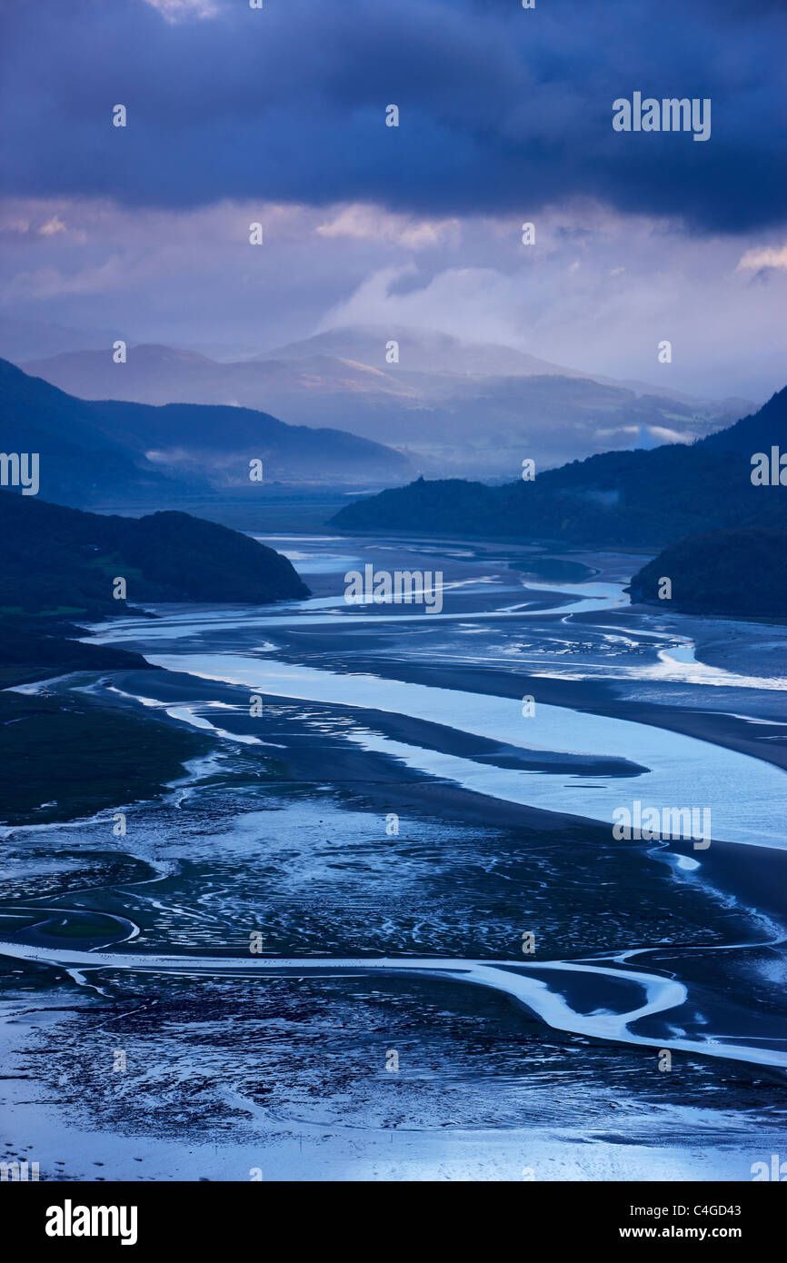 dawn over the Mawddach Estuary, Snowdonia, Wales - Stock Image