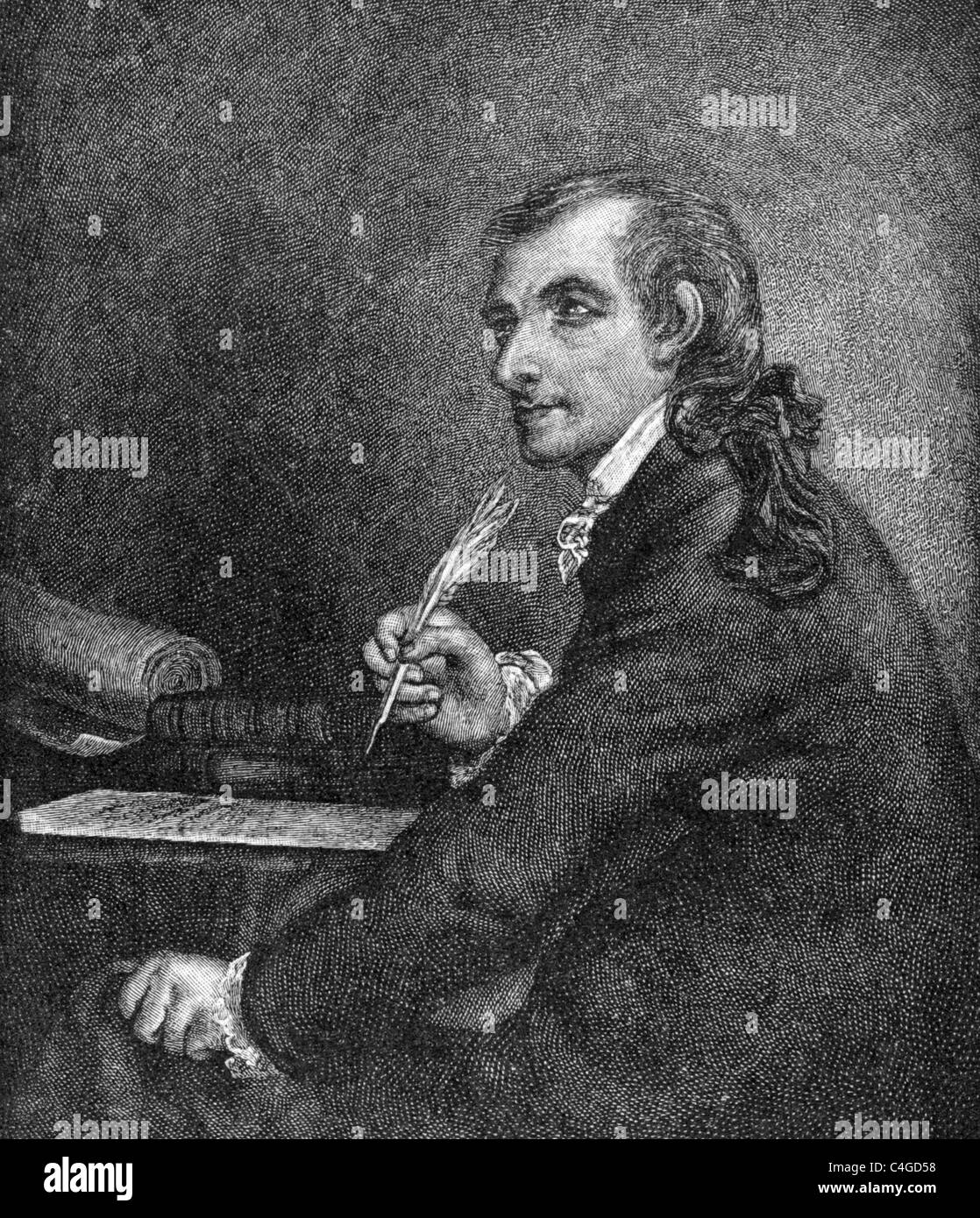 Francis Hopkinson (1737-1791) on engraving from 1800s. American author and one of the signers of the Declaration - Stock Image