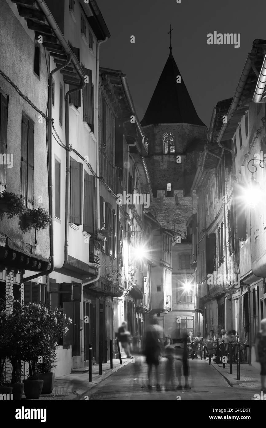 Rue de Macquis at night, Soreze, Haute-Garonne, Midi-Pyrenees, France - Stock Image
