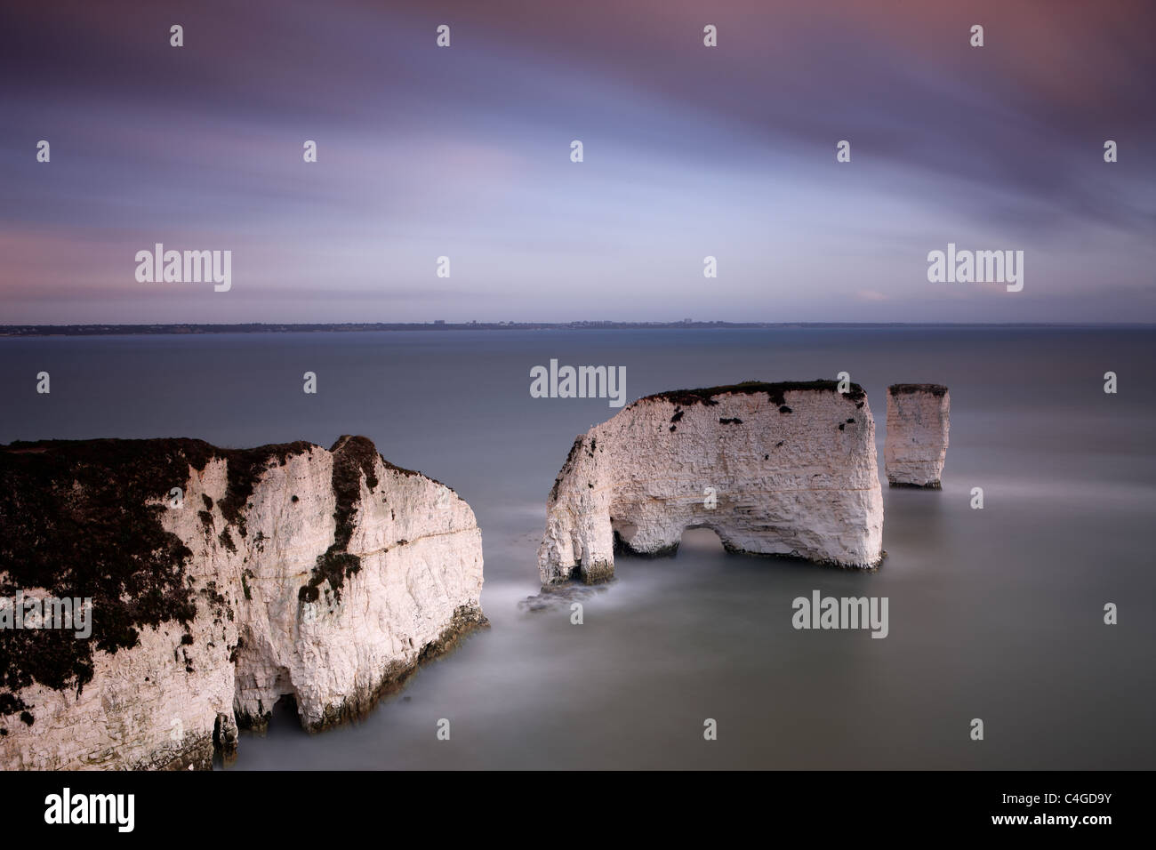Old Harry and his Wife, Studland, Jurassic Coast, Dorset, England - Stock Image