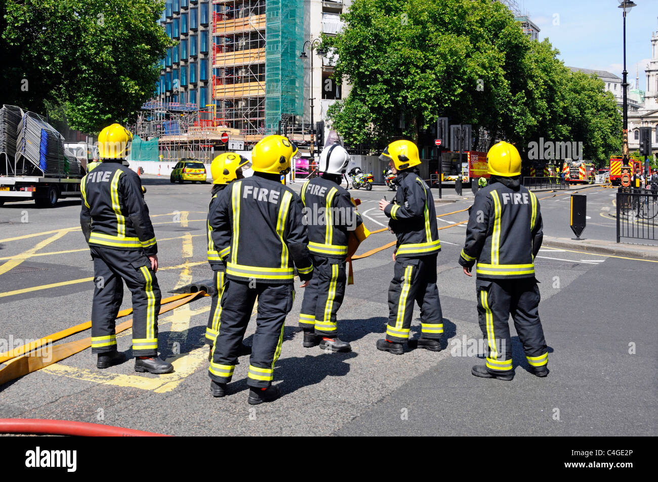 Additional fire crew arrive at major fire at Aldwych London Stock Photo