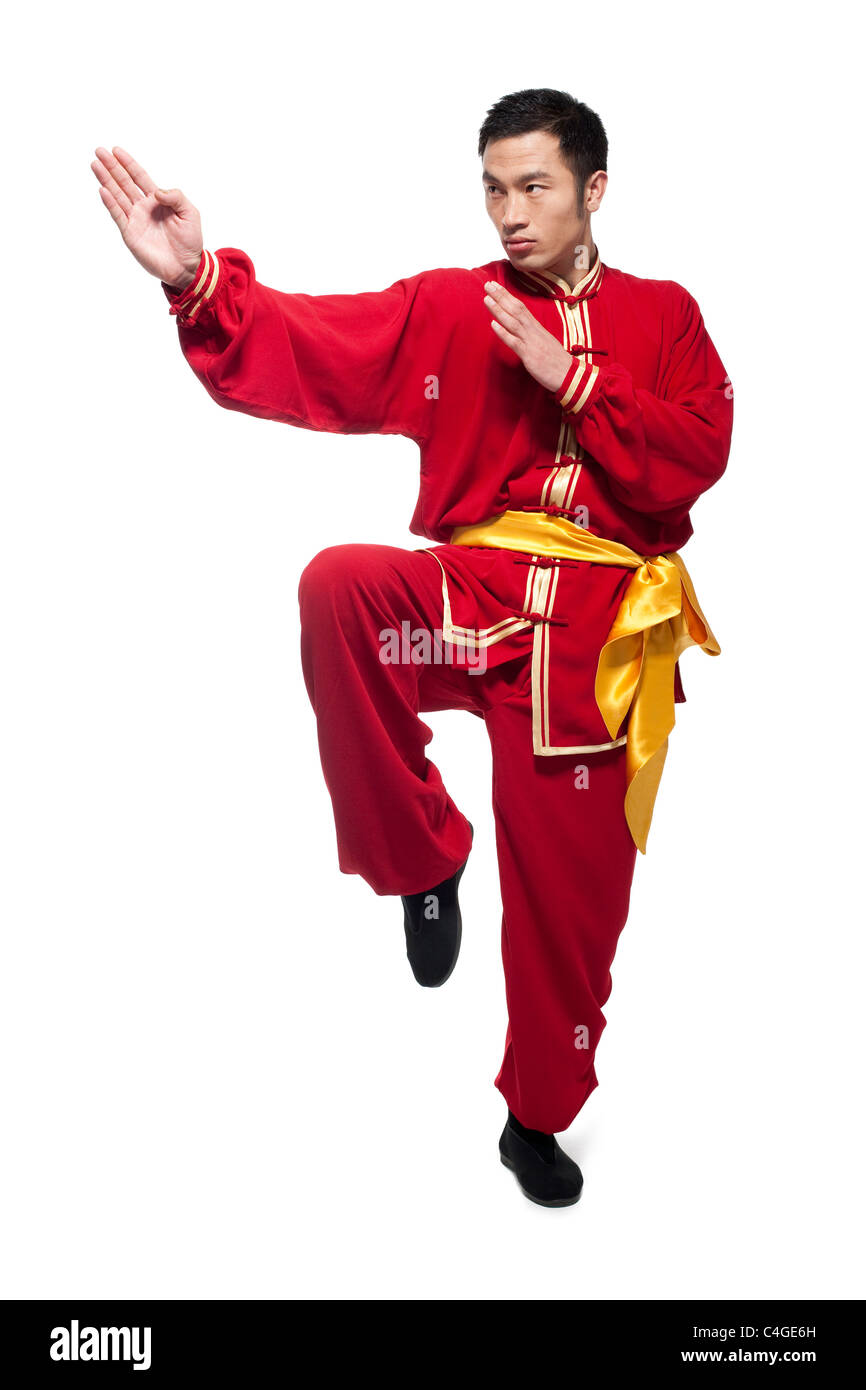 Man In Traditional Chinese Clothing doing Martial Arts Stock