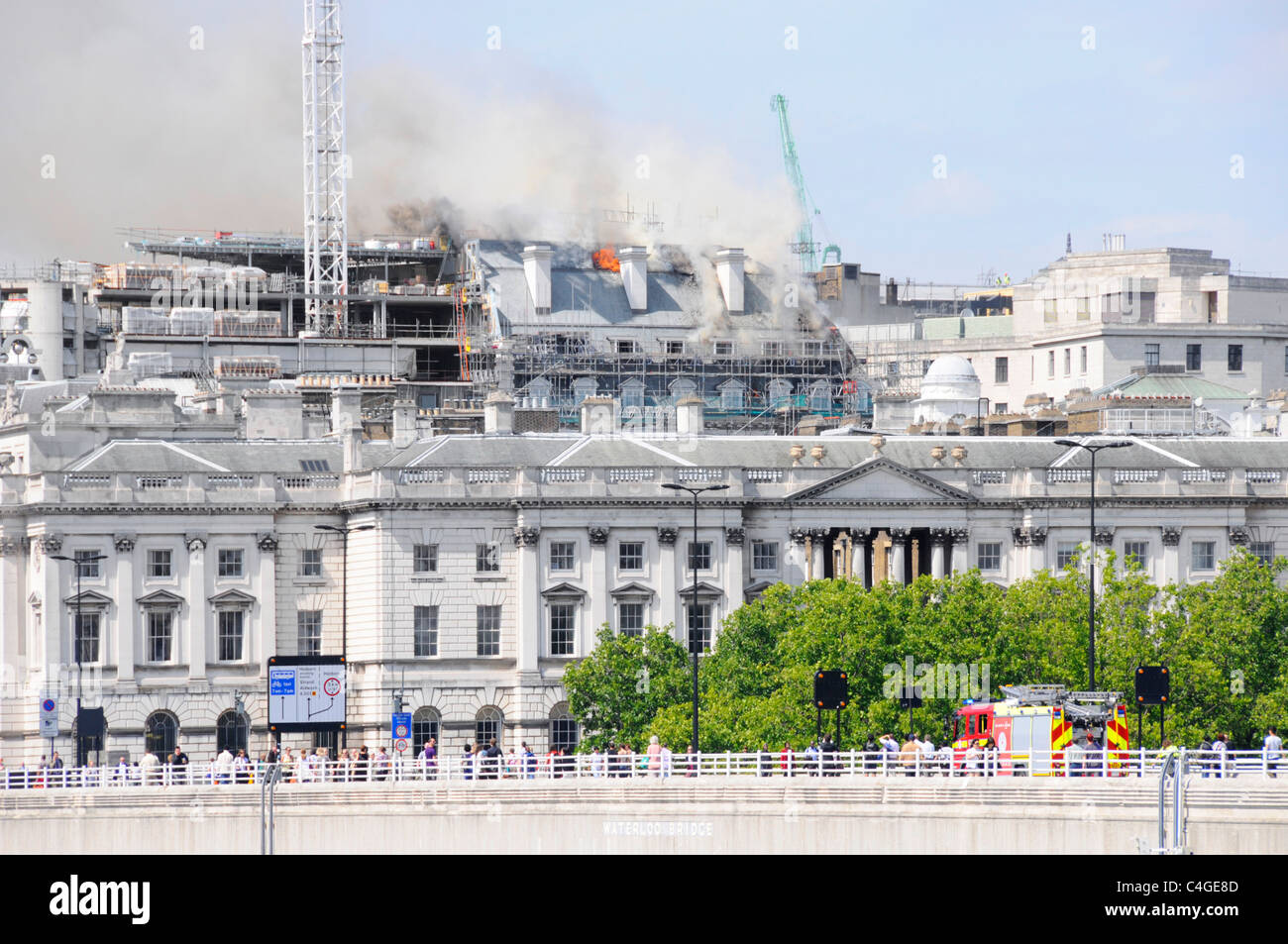 Marconi House Roof On Fire At Construction Site In Aldwych