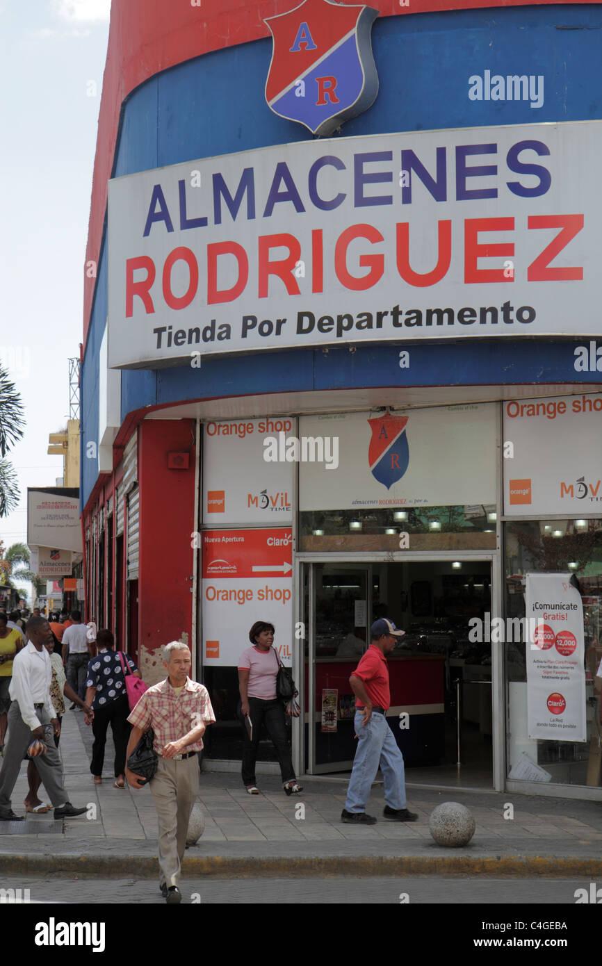 Santo Domingo Dominican Republic Avenida Duarte business garment district department store storefront shopping sign - Stock Image