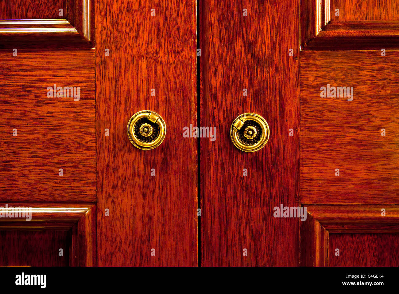 Closeup of the wooden door of an oriental styled closet - Stock Image