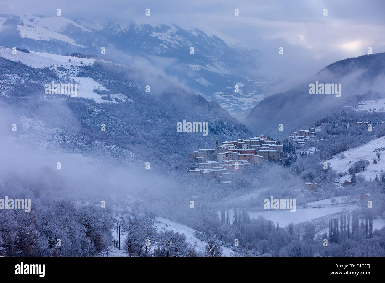 Preci in winter, Valnerina, Monti Sibillini National Park, Umbria, Italy - Stock Image