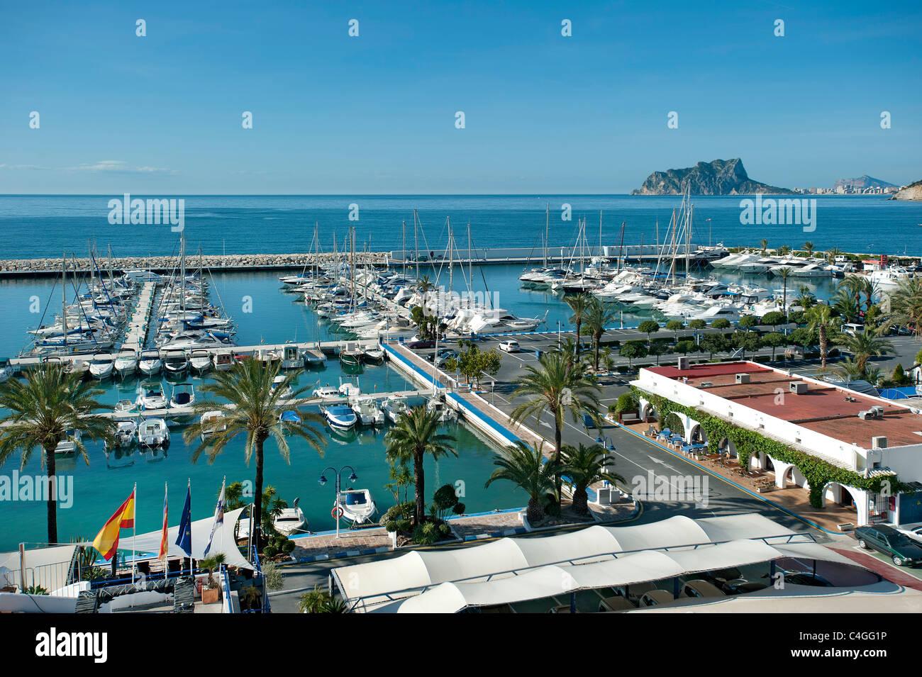 Overview of Harbour, Moraira, Costa Blanca, Spain - Stock Image