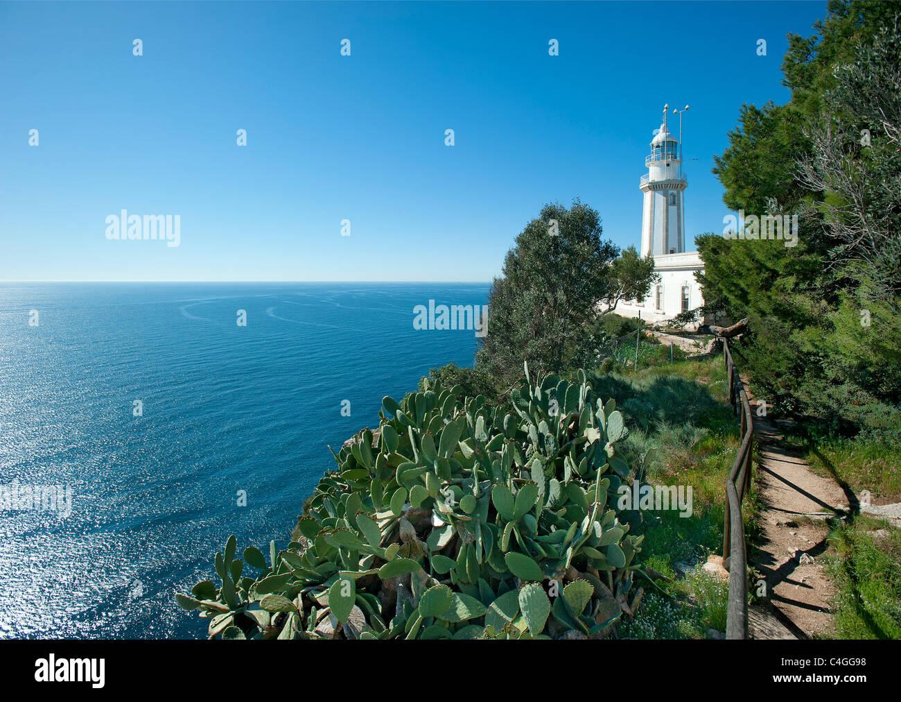 Lighthouse at Cap de la Nau, Javea, Costa Blanca, Spain - Stock Image