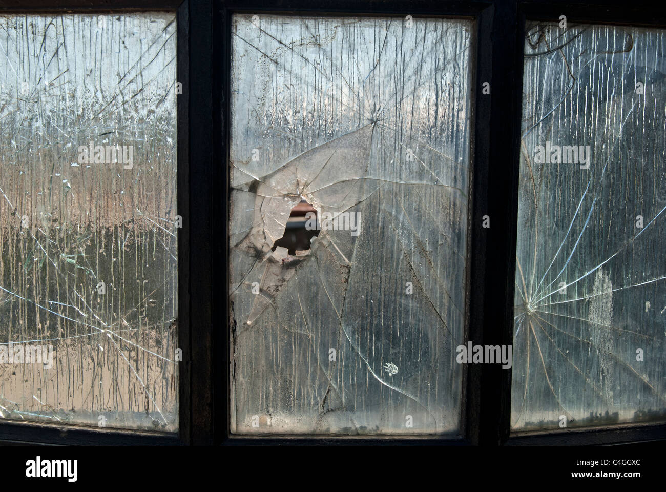 BROKEN WINDOW GLASS - Stock Image