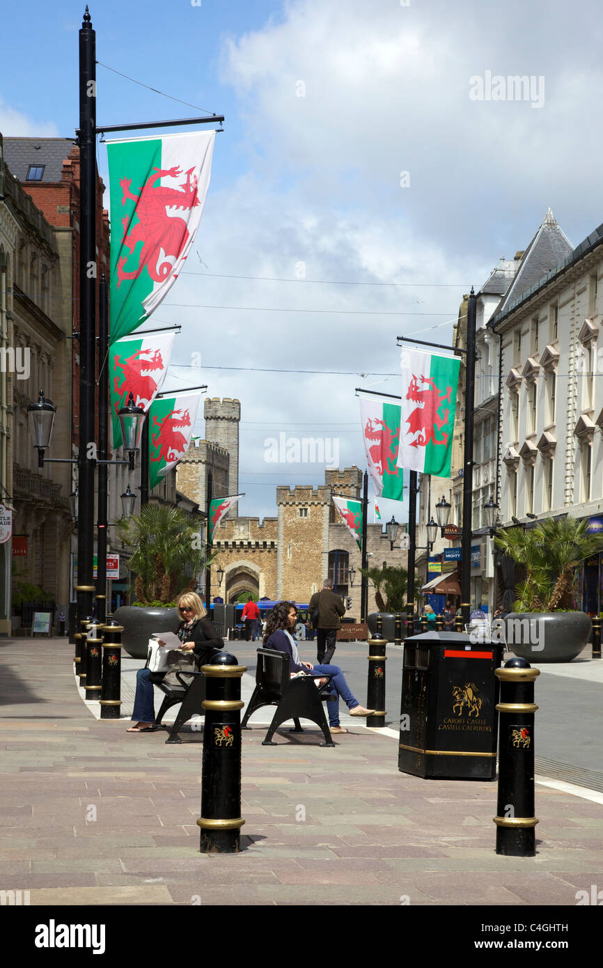 High Street looking to Cardiff Castle, May sunshine, Cardiff city centre, South Glamorgan, Wales cymru - Stock Image