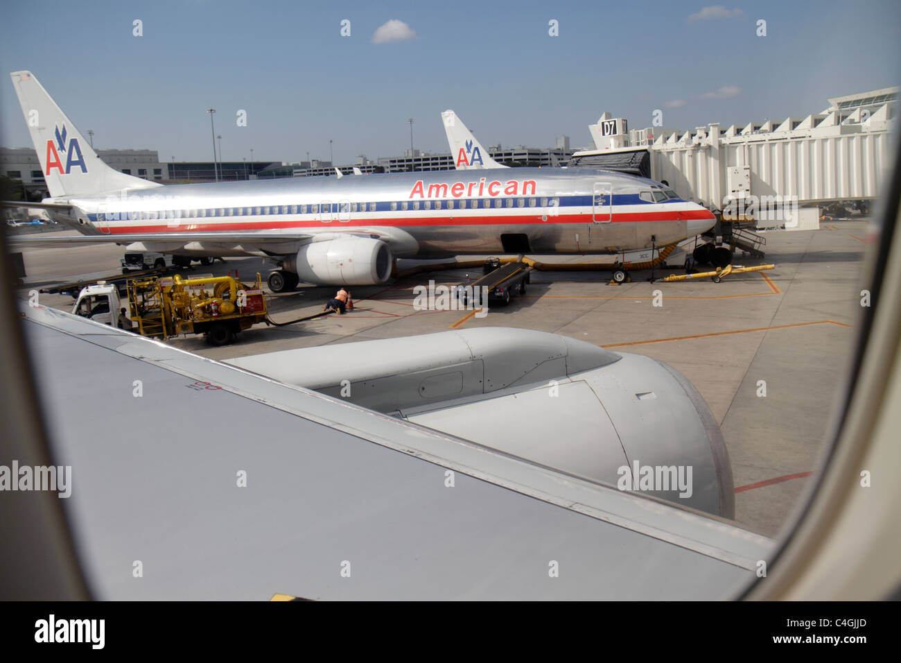 MiamiMiami Florida International Airport MIA American Airlines commercial airliner window seat view gate tarmac - Stock Image