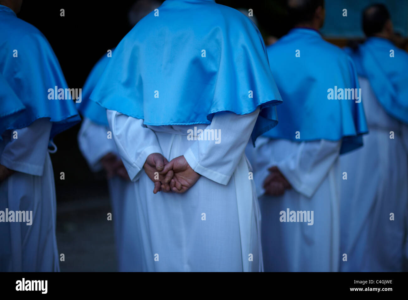 procession at St Eutizio Abbey, Umbria, Italy - Stock Image