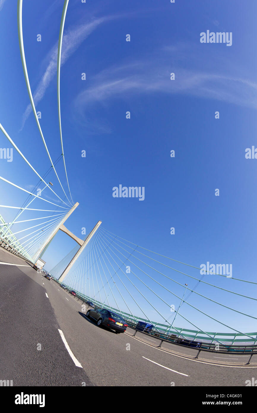 Fisheye photo of the New Second Severn Bridge Gloucestershire England UK GB British Isles - Stock Image