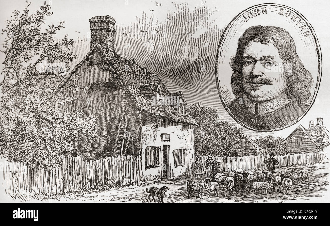 John Bunyan's cottage in Elstow, Bedfordshire, England seen in the late 19th century. John Bunyan, 1628 – 1688. - Stock Image
