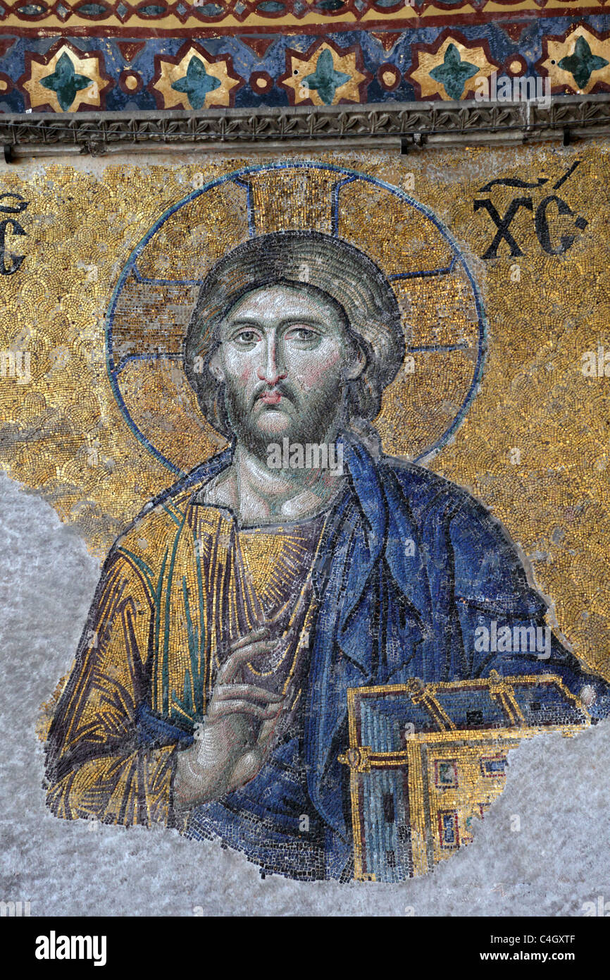 Ancient Jesus Christus mosaic inside of the Hagia Sophia Mosque in Istanbul, Turkey - Stock Image