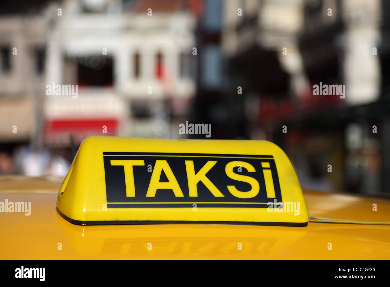 Yellow sign of the Istanbul taxi, Turkey Stock Photo
