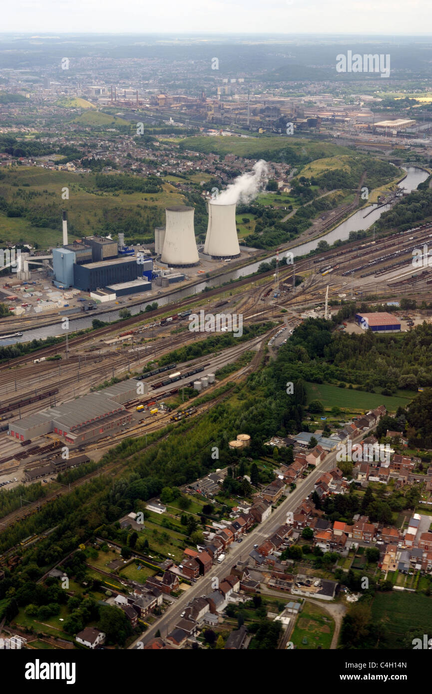 A aerial view over Belgian heavy industry on the flightpath to Charleroi airport - Stock Image