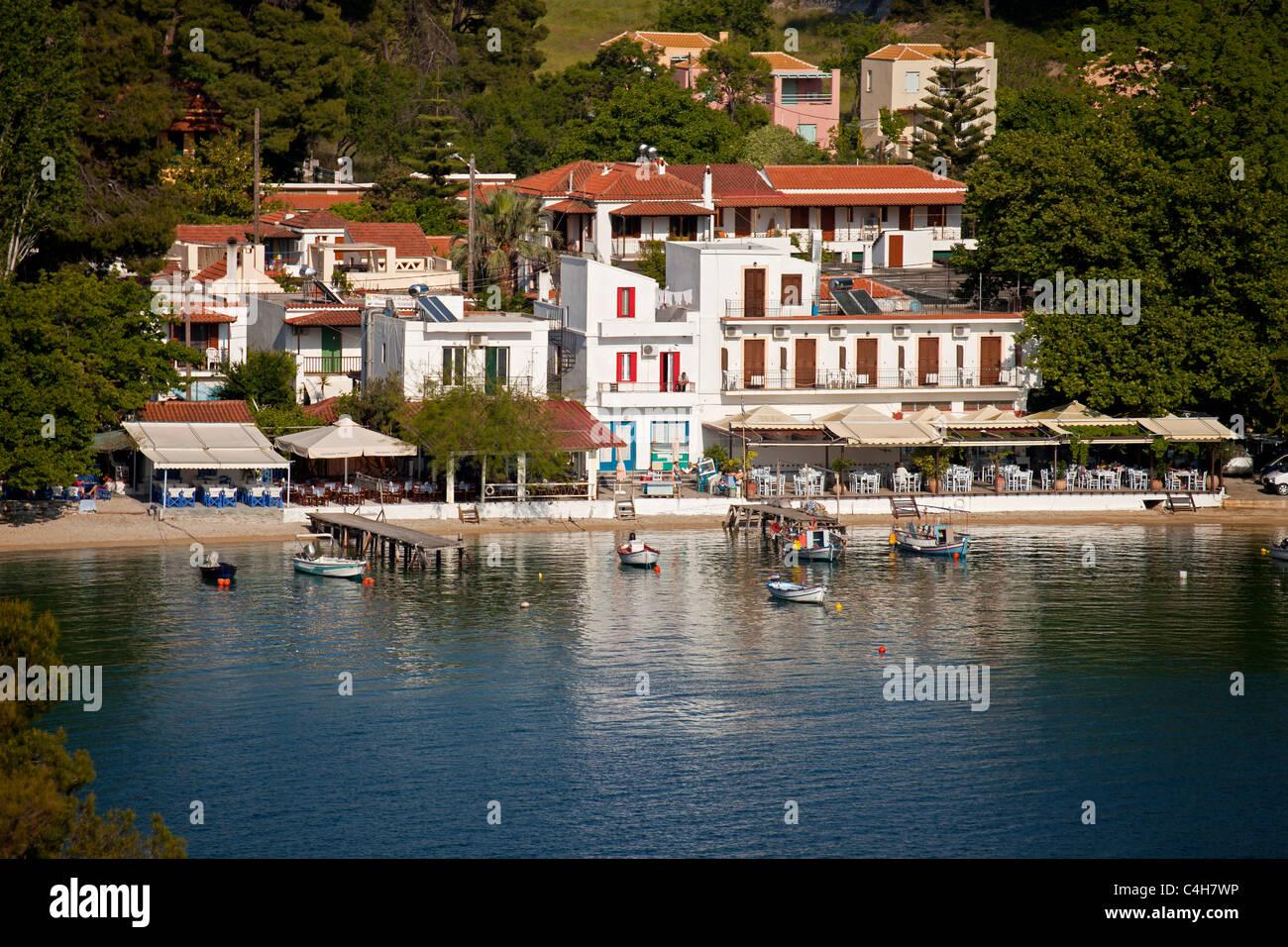harbour at the small fishing village of Agnontas, Skopelos Island, Northern Sporades, Greece Stock Photo