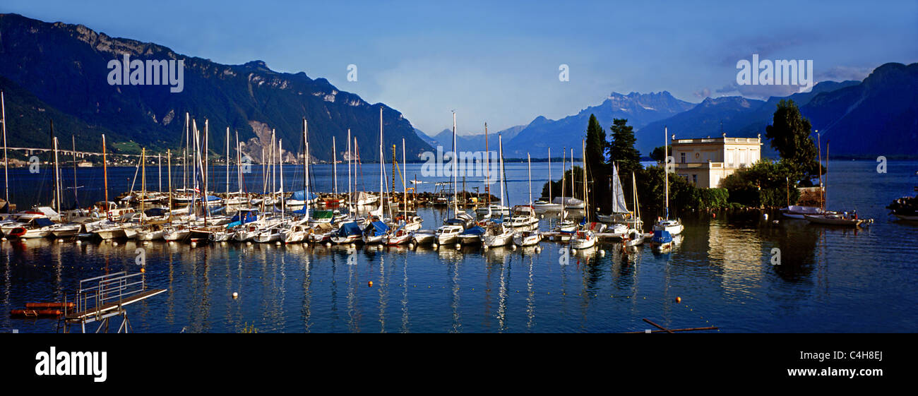 Vevey is a town in Switzerland in the canton Vaud, on the north shore of Lake Geneva, not far from Lausanne. - Stock Image