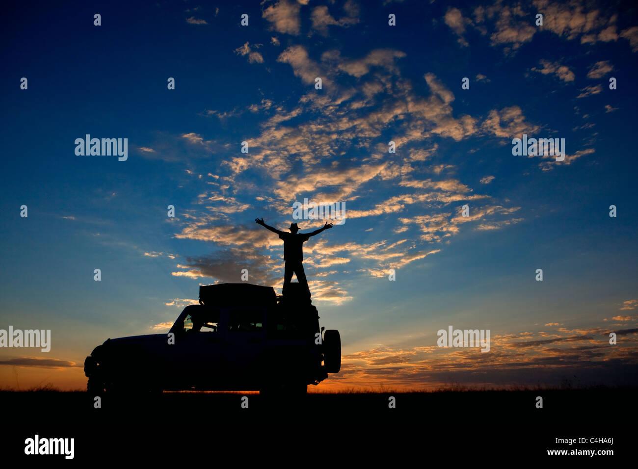 Sunset in Piper Pan, Central Kalahari Game Reserve, Botswana - Stock Image