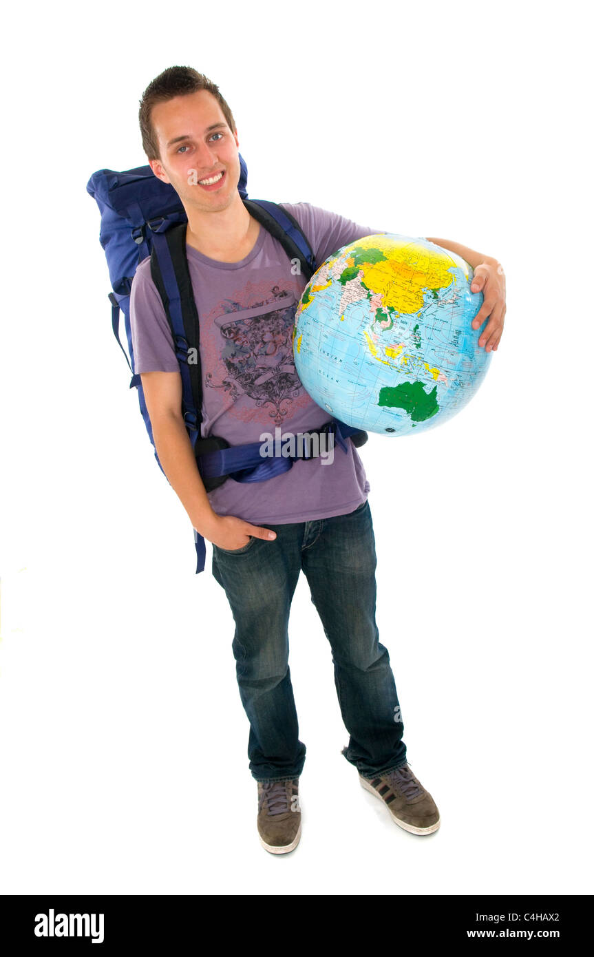 Young man backpacker with rucksack and globe - Stock Image