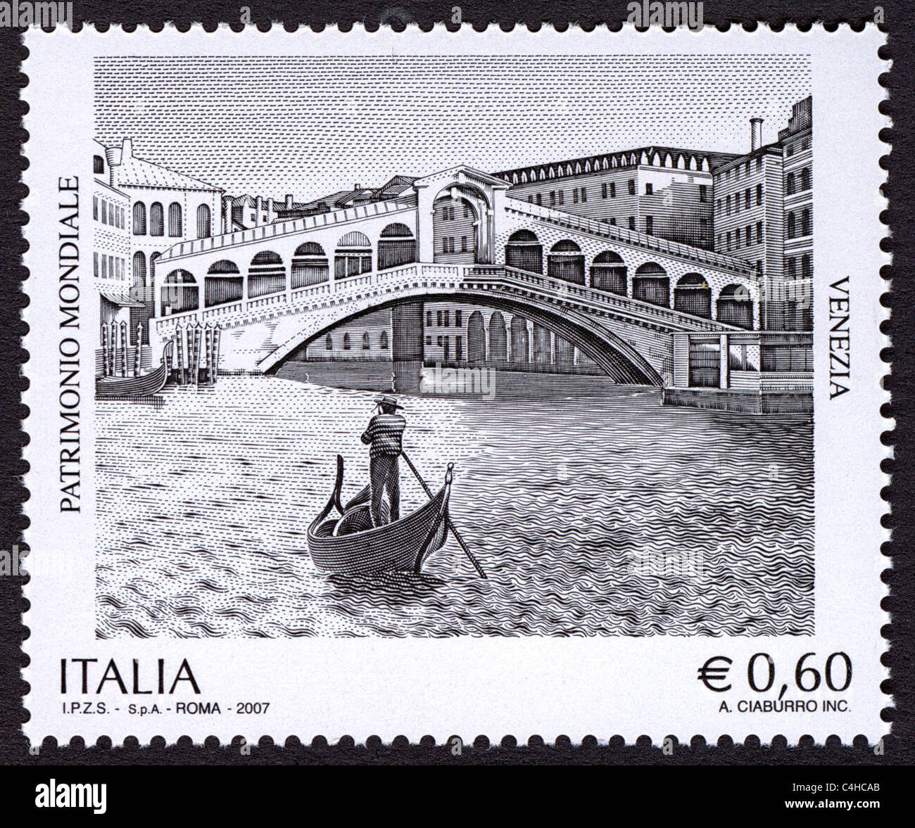 Issue of the Italian post office for the World Heritage Series. - Stock Image