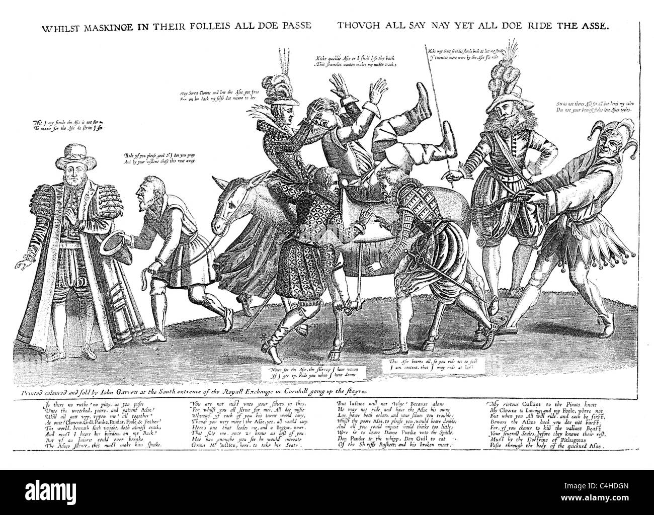 The Nation and its Riotous Governors; Satirical print of 1603; Black and White Illustration; - Stock Image