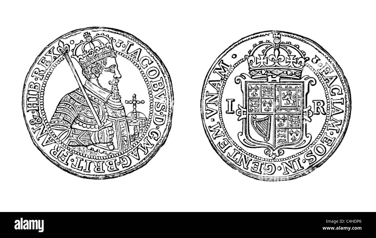 The Unite of James I, 1604, the first coin which bore the legend 'Great Britain'; Black and White Illustration; - Stock Image