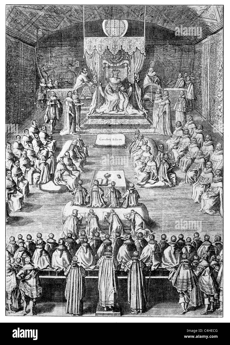 King Charles I of England Opening Parliament 1625; The commons presenting  their speaker to the king;